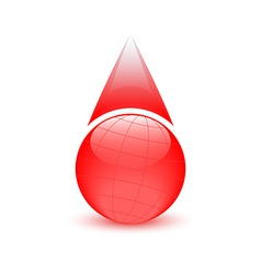 Blood drop globe sign donor day vector