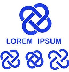 Blue curved line logo design set vector