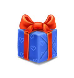 blue gift box with red ribbon and bow vector image