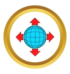 Blue globe and red arrows icon vector