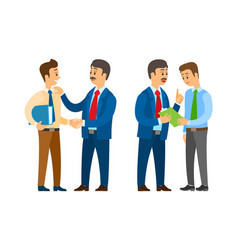 Boss with man employer and employee with pages vector