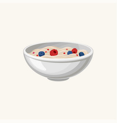 Bowl of oatmeal porridge with fresh blueberries vector