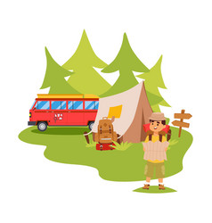 camping van and tent outdoor tourist hiking with vector image