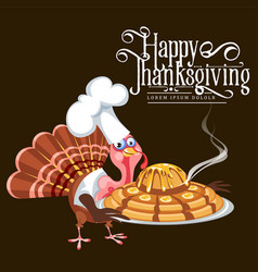 cartoon thanksgiving turkey character in cooking vector image