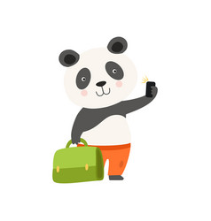 Cheerful tourist panda bear with suitcase cute vector