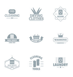 Cleanup logo set simple style vector