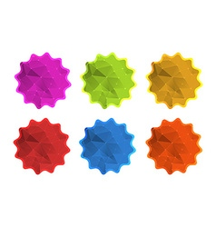 Colorful polygonal label sticker icons in red blue vector