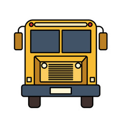 Colorful silhouette image front view school bus vector