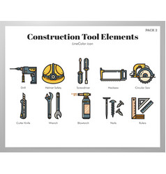 Construction tool elements linecolor pack vector