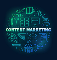 content marketing round colored vector image