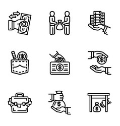Corruption money icon set outline style vector