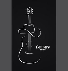 country music sign cowboy hat with guitar vector image
