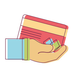 Credit card electronic currency in the hand vector