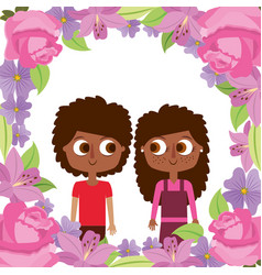 cute brother and sister with frame flowers vector image