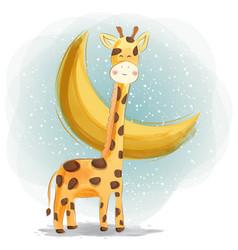 Cute giraffe with beautiful moon watercolor design vector