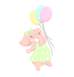 cute girl elephant with balloons hand drawn vector image