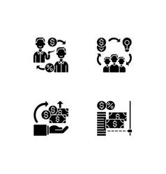 Digital crowdfunding platforms black glyph icons vector
