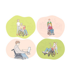 Disabled people on wheelchair living happy active vector