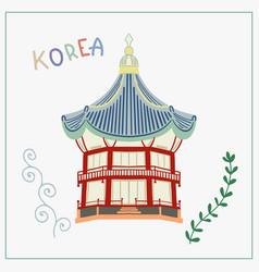 Doodle flat arbor pagoda in vector