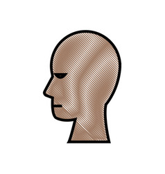Drawing human head profile male character vector