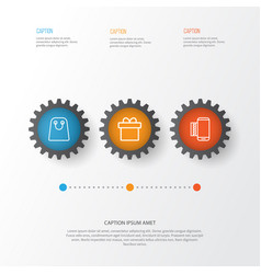 E-commerce icons set collection of mobile service vector