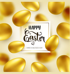 Easter golden egg with calligraphic lettering vector