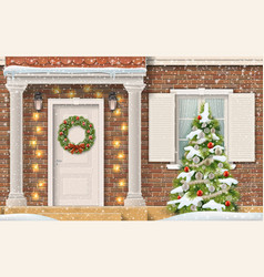 entrance house christmas tree vector image