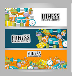 Fitness and healthy lifestyle horizontal banner vector