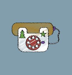 Flat shading style icon landline phone vector