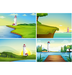 Four nature scenes with lighthouse by the ocean vector