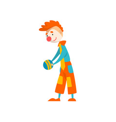 funny clown cartoon character performing with ball vector image