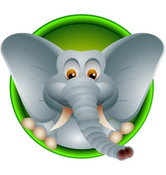 funny head elephant isolated vector image