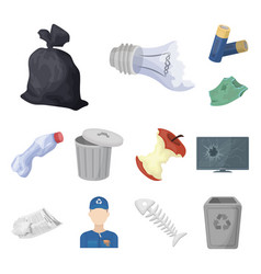 Garbage and waste cartoon icons in set collection vector