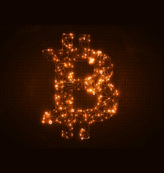 golden bitcoin symbol constructed with vector image