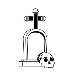 Halloween head skull with graveyard vector