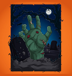 halloween party concept with zombie hand vector image