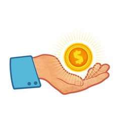 hand with golden coin vector image
