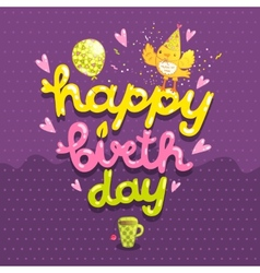 Happy Birthday postcard with tea cup and bird vector