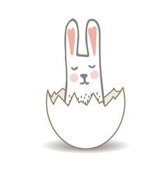 happy easter surprise egg with cute sweet bunny vector image