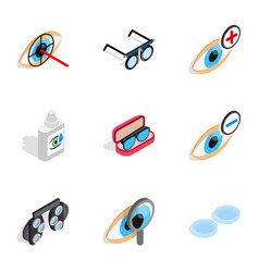 Healthy eyes icons isometric 3d style vector