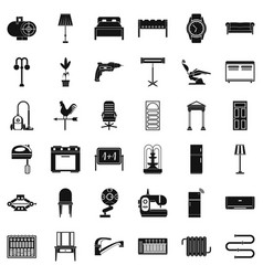 home equipment icons set simple style vector image