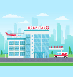 hospital building with ambulance helicopter on vector image