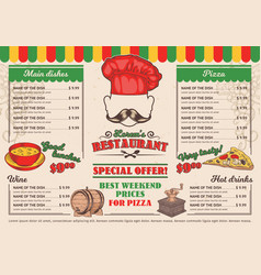 italian restaurant menu a cafe vector image