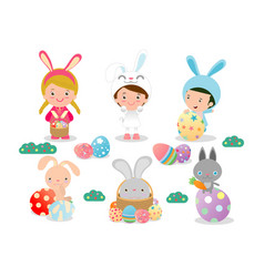 kids and easter eggsbasket with rabbit and easter vector image