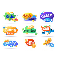Kids club for game play and art emblem set vector