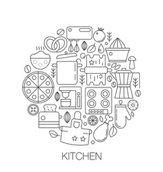 kitchen in circle - concept line vector image