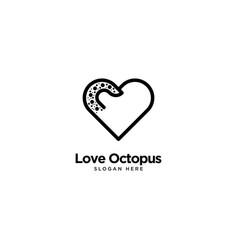 Love octopus logo outline monoline vector