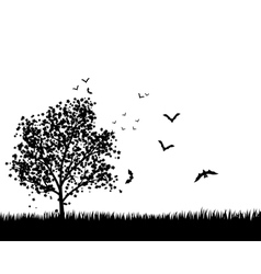 Maple Tree With Bats vector