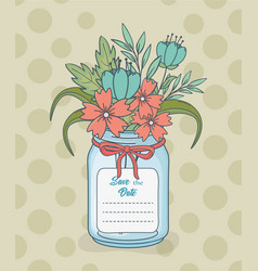 Mason jar with floral decorations and save date vector