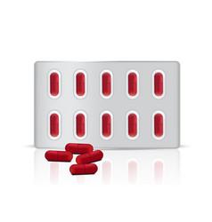 mock up realistic red pills medicine panel vector image